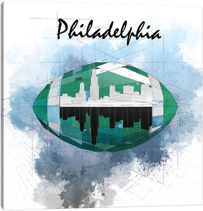 Football Philadelphia Skyline Canvas Art Print