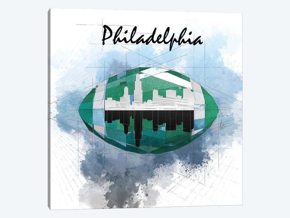 Football Philadelphia Skyline by Katia Skye 1-piece Canvas Art