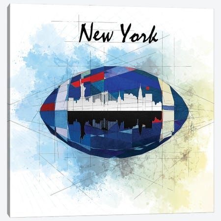 Football New York Giants Canvas Print #KSK32} by Katia Skye Canvas Print