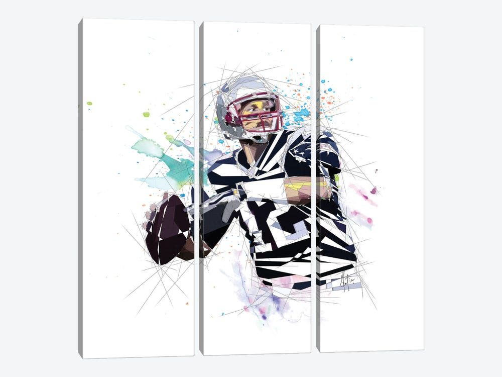 Tom Brady by Katia Skye 3-piece Canvas Wall Art