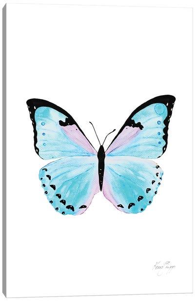 Butterfly In Aqua Canvas Art Print