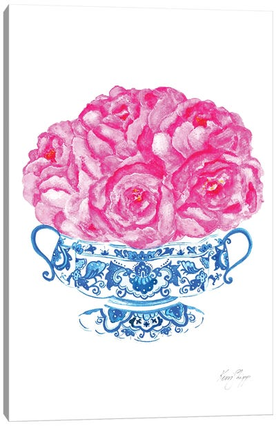 Bouquet In Flow Blue Canvas Art Print