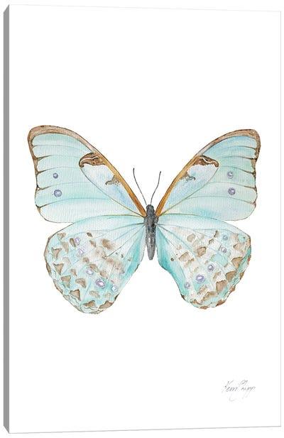 Butterfly In Celadon Canvas Art Print