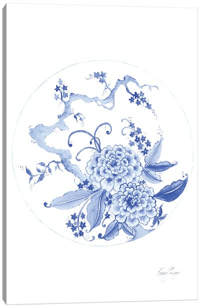 Chinoiserie Plate In Ming Blue Canvas Art Print