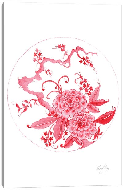 Chinoiserie Plate In Ruby Canvas Art Print