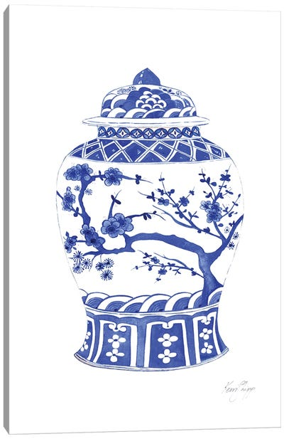 Chinois Ginger Jar In Ming Blue Canvas Art Print