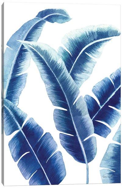 Banana Leaf I In Blue Canvas Art Print