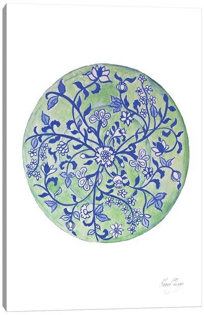 Green Chinoiserie Plate Canvas Art Print