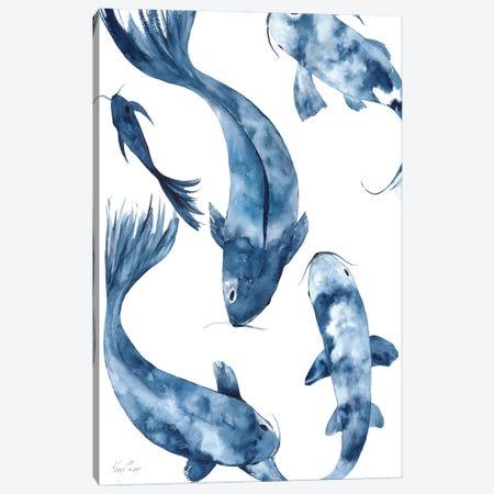 Koi I In Denim Canvas Print #KSP44} by Kerri Shipp Canvas Wall Art