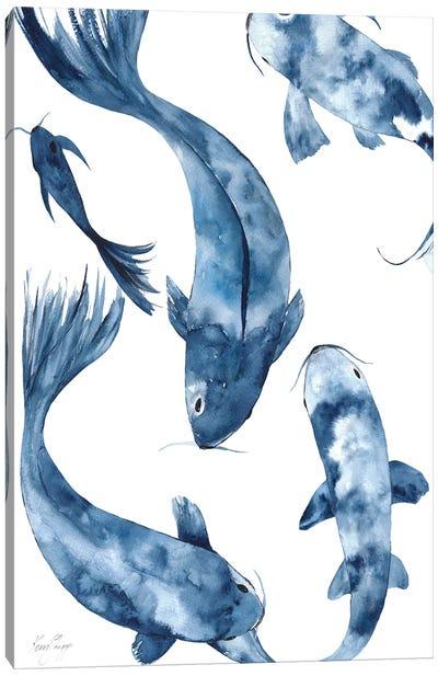 Koi I In Denim Canvas Art Print