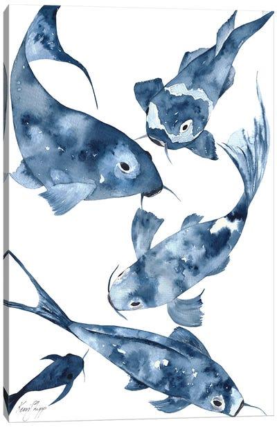 Koi II In Denim Canvas Art Print
