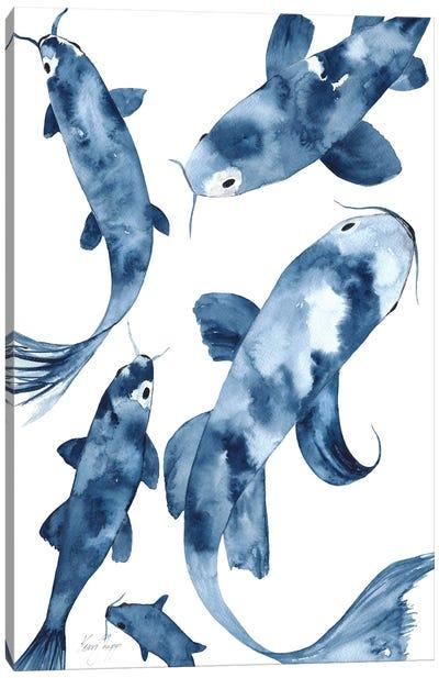 Koi III In Denim Canvas Art Print