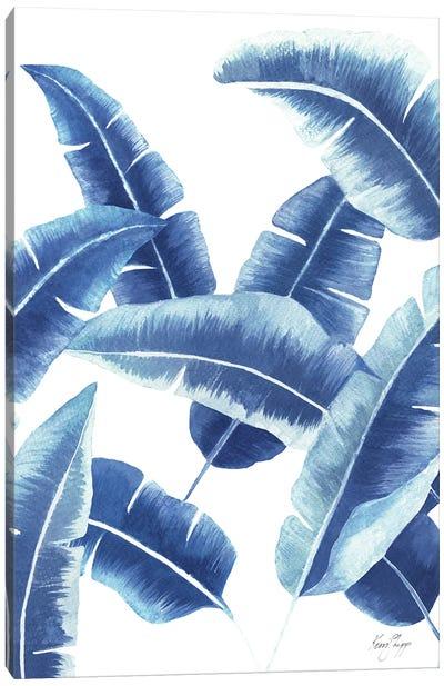 Banana Leaf II In Blue Canvas Art Print