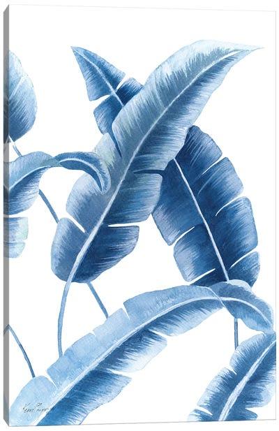 Banana Leaf III In Blue Canvas Art Print