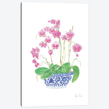 Pink Orchids In Vintage Blue And White China Canvas Print #KSP74} by Kerri Shipp Canvas Print