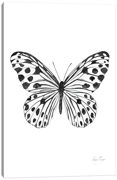 Black And White Spotted Butterfly Canvas Art Print