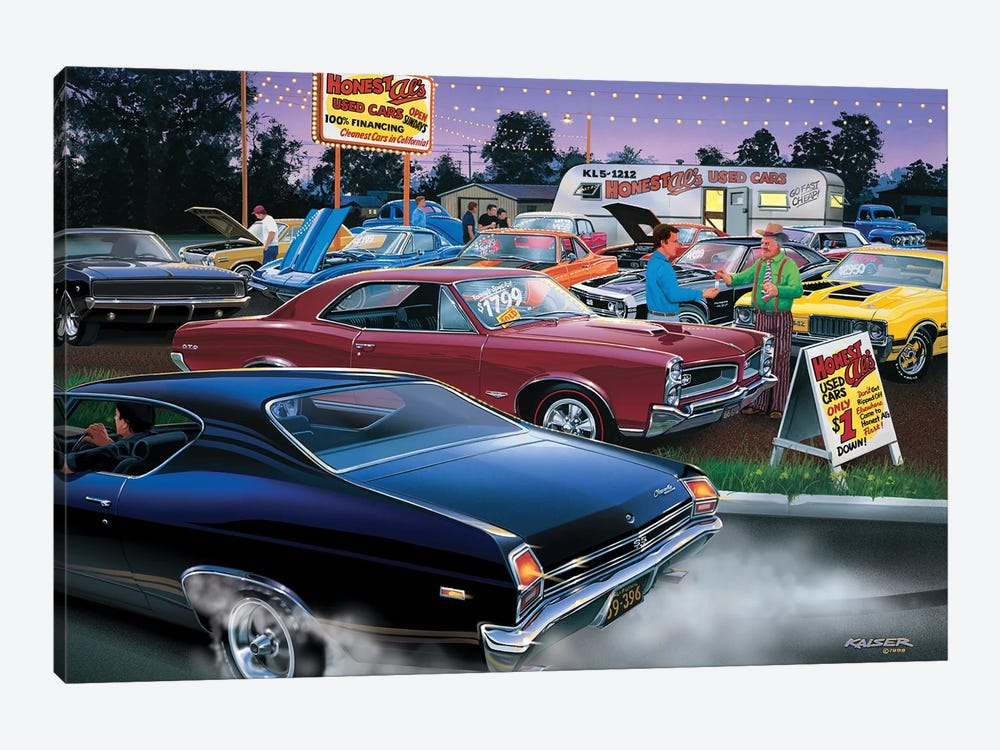 Honest Al's Used Cars by Bruce Kaiser 1-piece Canvas Artwork