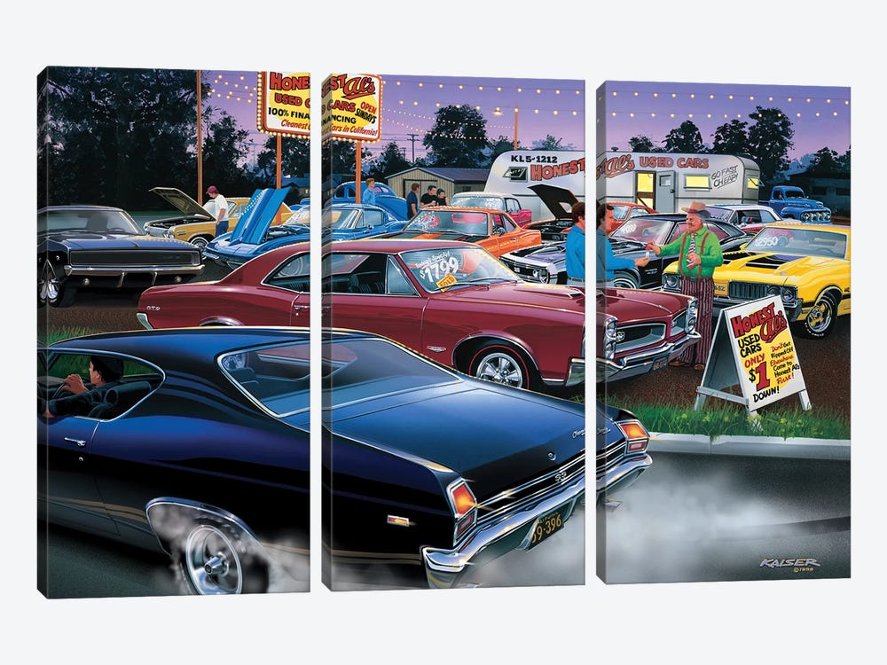Honest Al's Used Cars by Bruce Kaiser 3-piece Canvas Wall Art