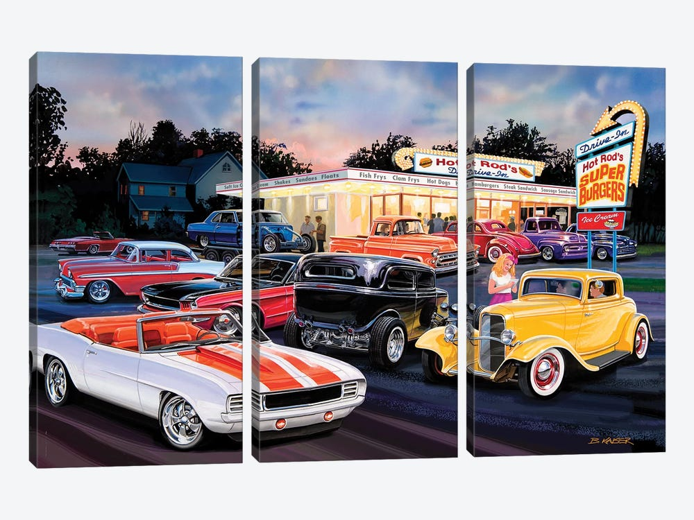 Hot Rod Drive-In I by Bruce Kaiser 3-piece Art Print