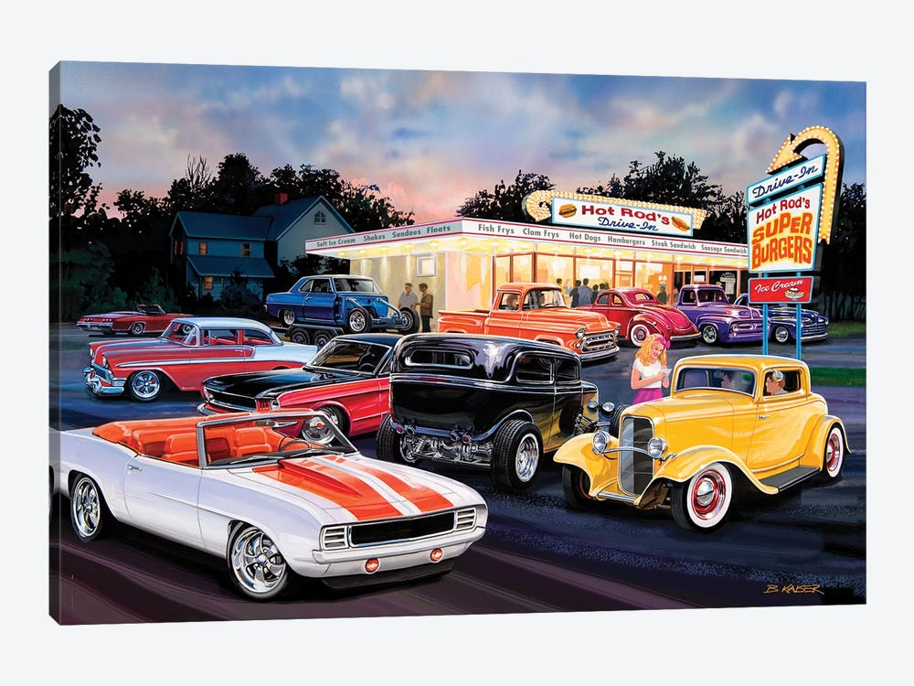 Hot Rod Drive-In I by Bruce Kaiser 1-piece Art Print