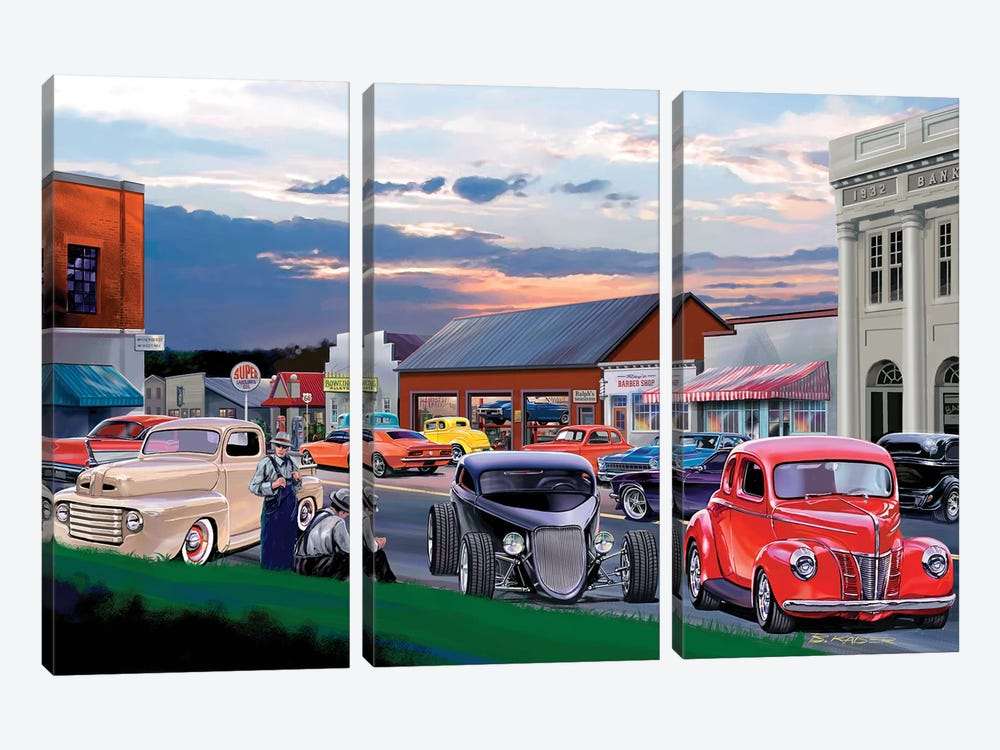 Main Street by Bruce Kaiser 3-piece Canvas Wall Art