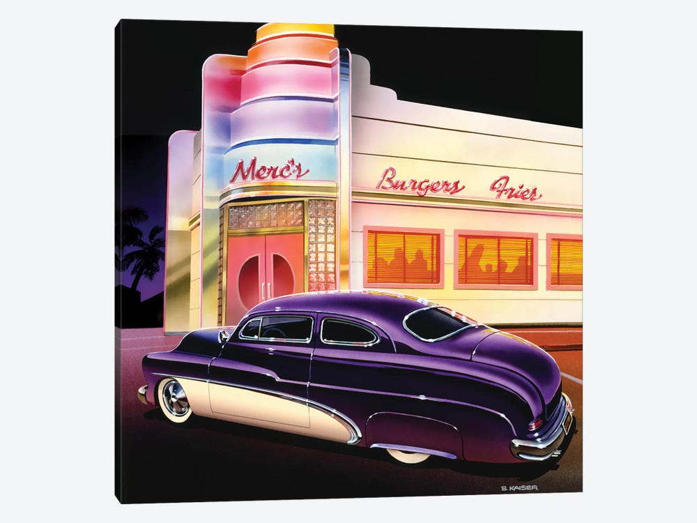 Merc's Burgers by Bruce Kaiser 1-piece Canvas Print