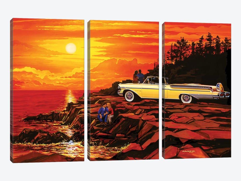 57 Merc Sunset by Bruce Kaiser 3-piece Canvas Wall Art