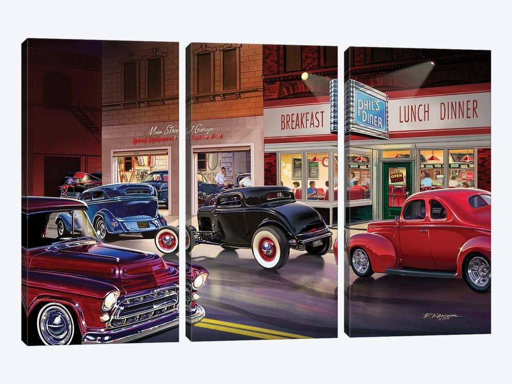 Phil's Diner by Bruce Kaiser 3-piece Canvas Print