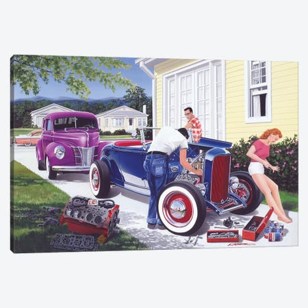 Shade Tree Mechanic Canvas Print #KSR23} by Bruce Kaiser Art Print