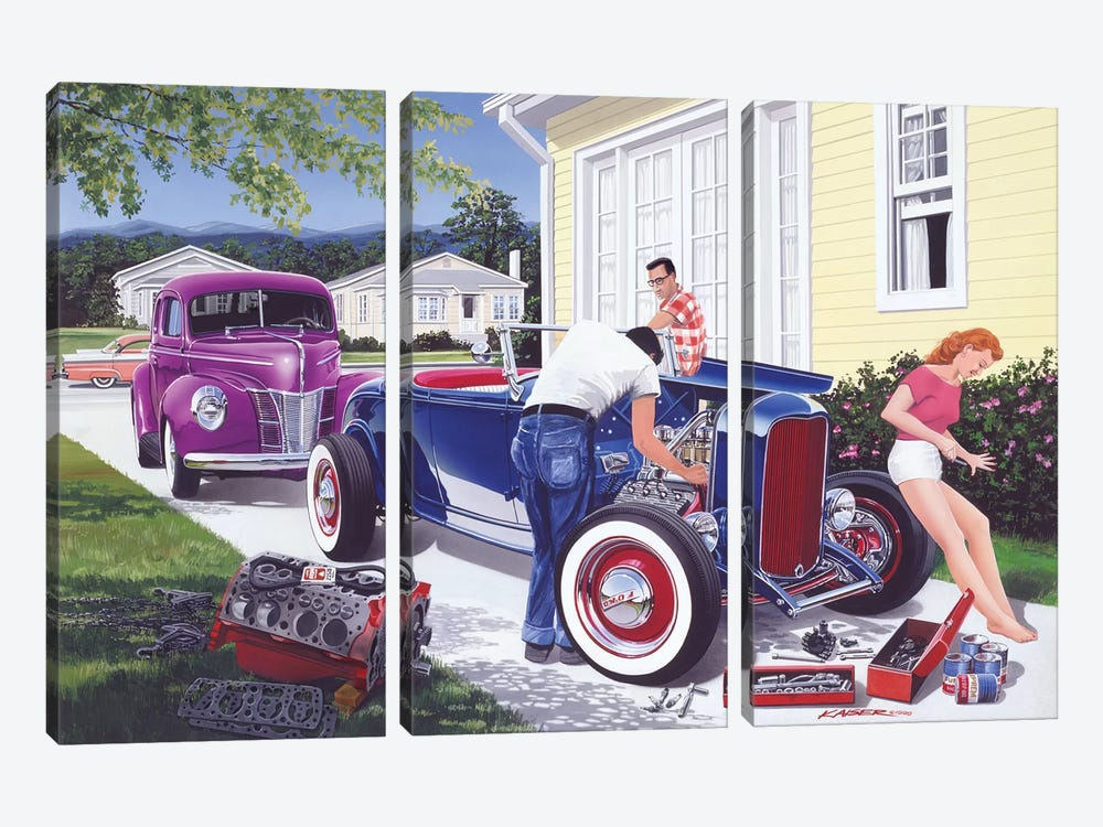 Shade Tree Mechanic by Bruce Kaiser 3-piece Canvas Art Print