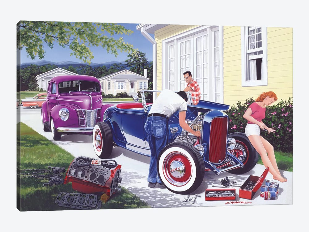 Shade Tree Mechanic by Bruce Kaiser 1-piece Canvas Art Print