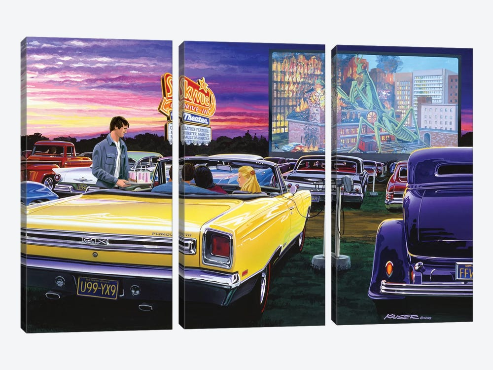 Sky View Drive-In by Bruce Kaiser 3-piece Canvas Art