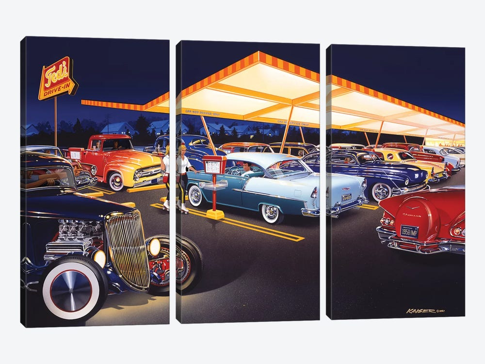 Ted's Drive-In by Bruce Kaiser 3-piece Canvas Art