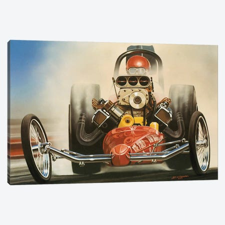 Top Fuel Dragster Canvas Print #KSR28} by Bruce Kaiser Art Print