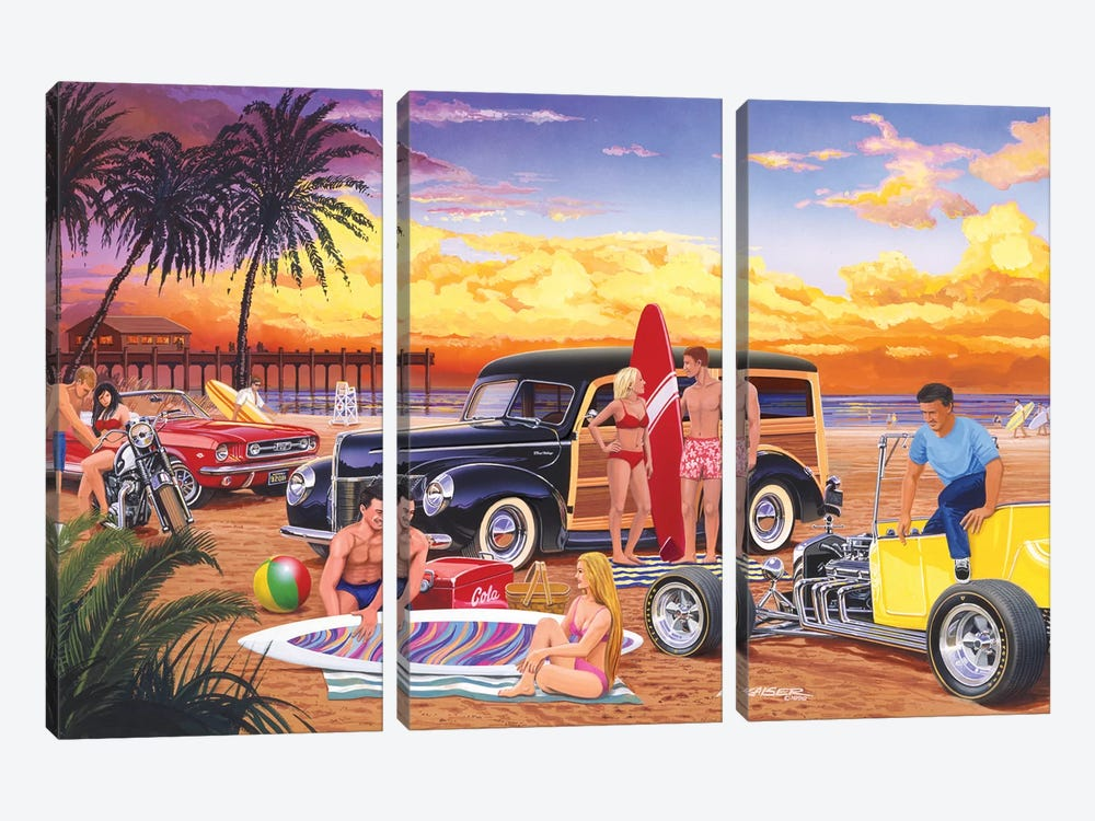 Woody Beach by Bruce Kaiser 3-piece Canvas Print