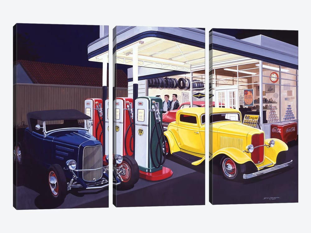 Deuce Service Garage by Bruce Kaiser 3-piece Canvas Print