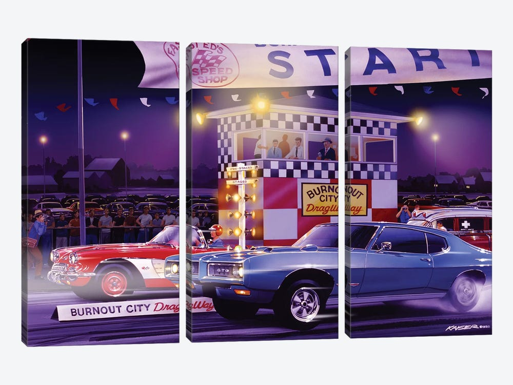 Drag City by Bruce Kaiser 3-piece Canvas Artwork