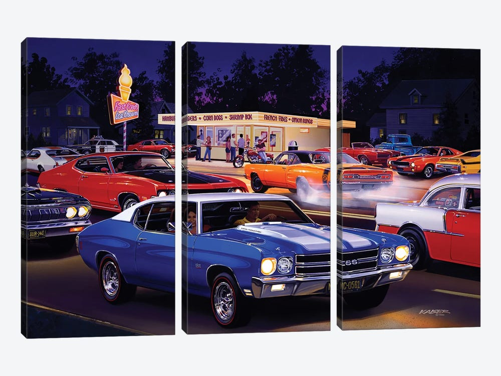 Fast Fred's by Bruce Kaiser 3-piece Canvas Art
