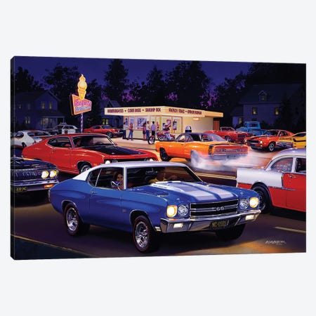 Fast Fred's Canvas Print #KSR9} by Bruce Kaiser Canvas Wall Art