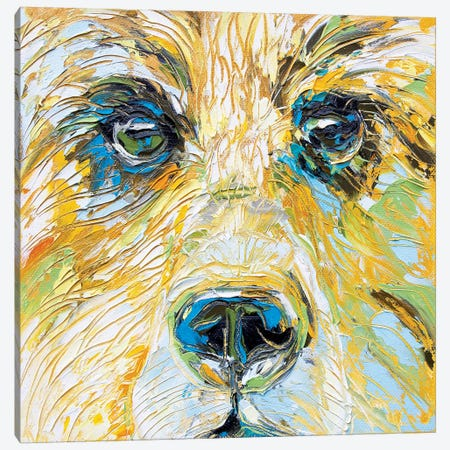 Mellow Yellow Bear Canvas Print #KSV14} by Kathleen Steventon Canvas Print