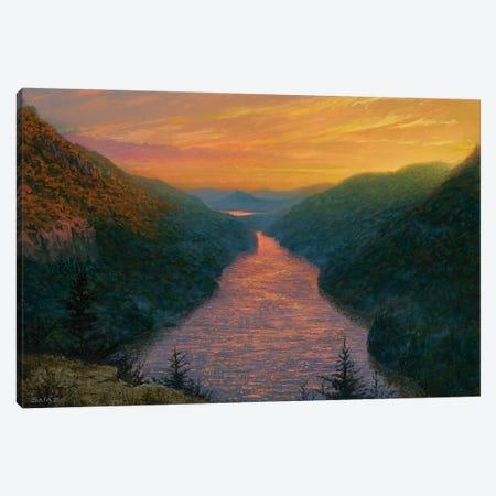 Sunset Over Ausable Lake From Indian Head Canvas Print #KSZ21} by Ken Salaz Art Print