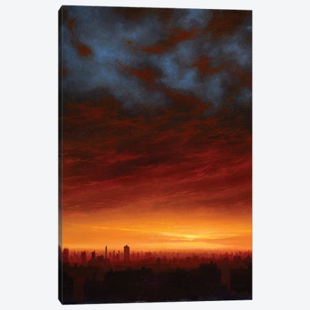 Fire And Ice - Sunset Over NYC Canvas Print #KSZ5} by Ken Salaz Canvas Art Print