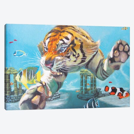 Tiger Swimming Canvas Print #KTA19} by Katharine Alecse Canvas Art