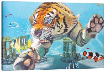 Tiger Swimming Canvas Art Print