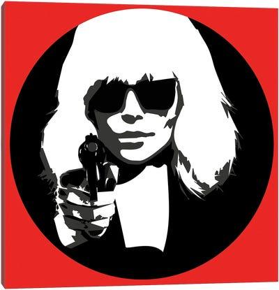 Atomic Blonde at Gun point Canvas Art Print