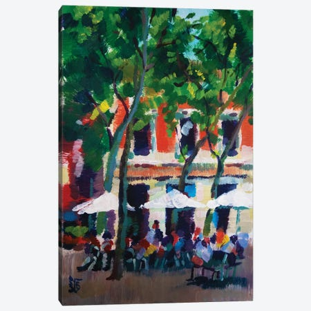 City cafe Canvas Print #KTB54} by Kateryna Bortsova Canvas Artwork