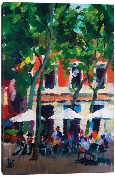 City cafe Canvas Art Print