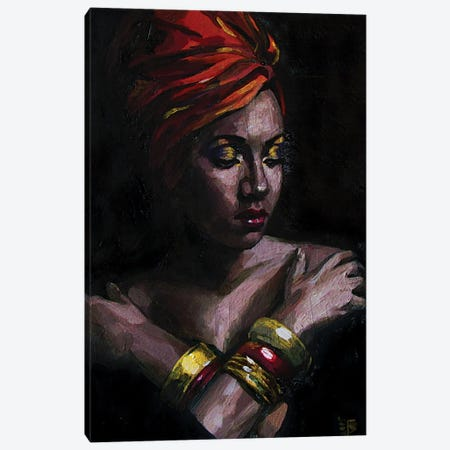 Girl In turban Canvas Print #KTB70} by Kateryna Bortsova Art Print