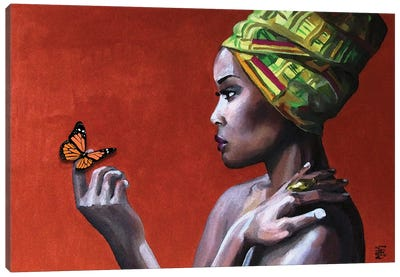Girl With Butterfly Canvas Art Print