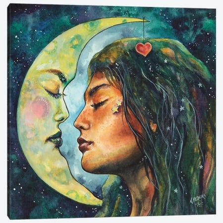 Moon Lovers Canvas Print #KTF12} by Kat Fedora Art Print